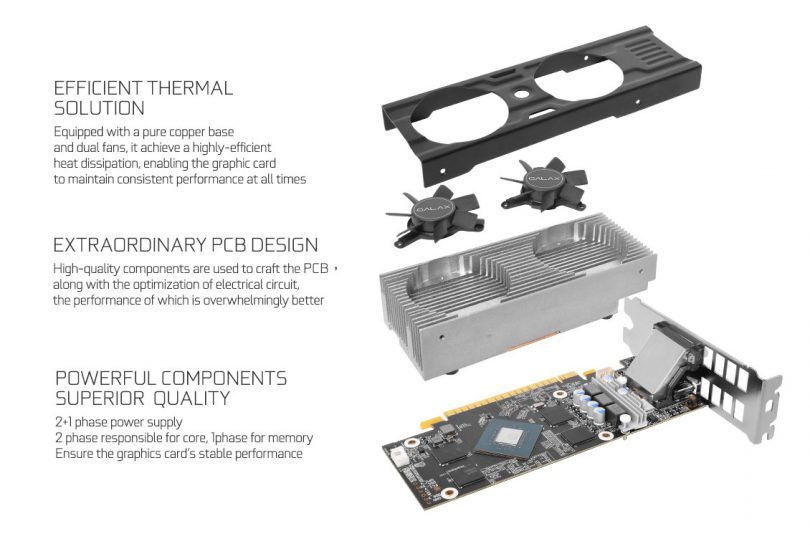 GALAX GeForce GTX 1050 Ti OC LP cooling
