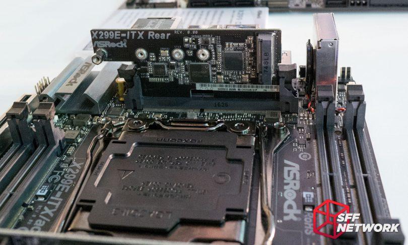 ASRock X299E-ITX/ac M.2 daughterboard vertical board SODIMM installed