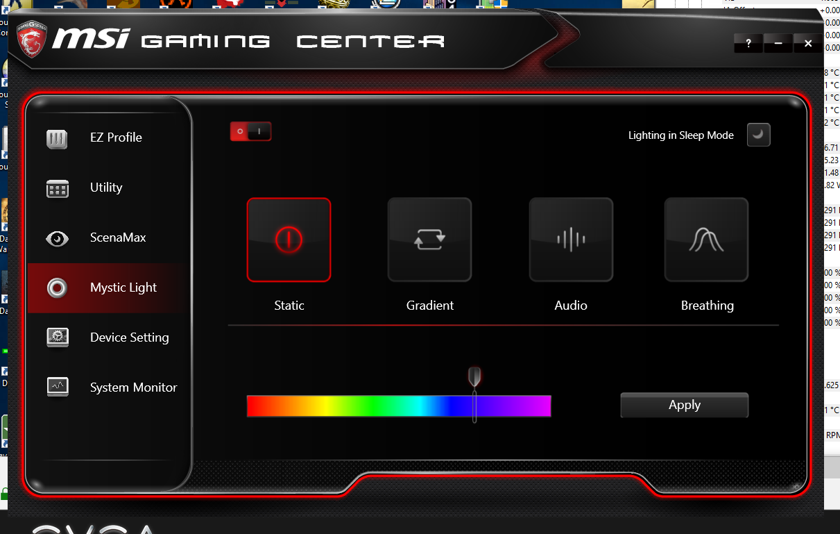The MSI Gaming Center application. Gets the job done, and isn't intrusive - that's pretty much all you can ask for nowadays.