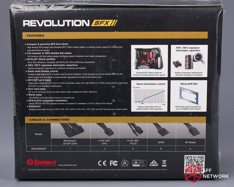 Enermax Revolution SFX 550W ERV550SWT box back