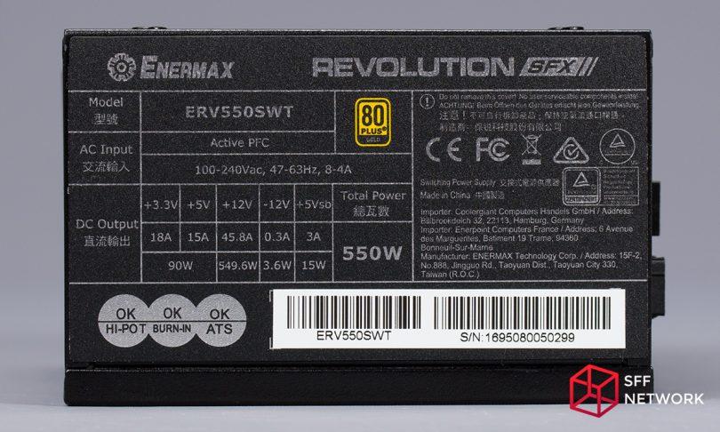 Enermax Revolution SFX 550W ERV550SWT label