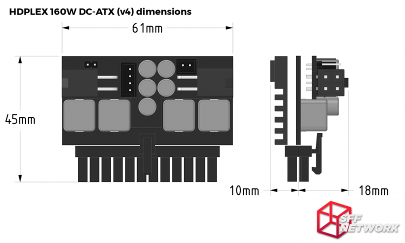HDPLEX 160W DC-ATX direct-plug v4 dimensions