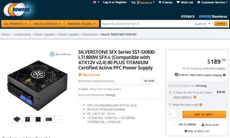 SilverStone SX800-LTI Newegg stock